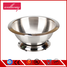 Wide edge stainless steel mixing bowl with ring base