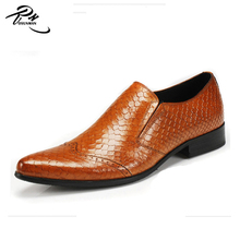 Men loafer style pointed toe Italian imported shoes last genuine leather African shoes