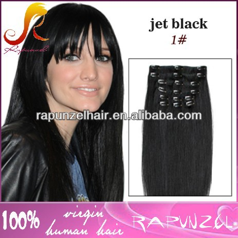 Jet black top quality indian human hair clip on hair braids