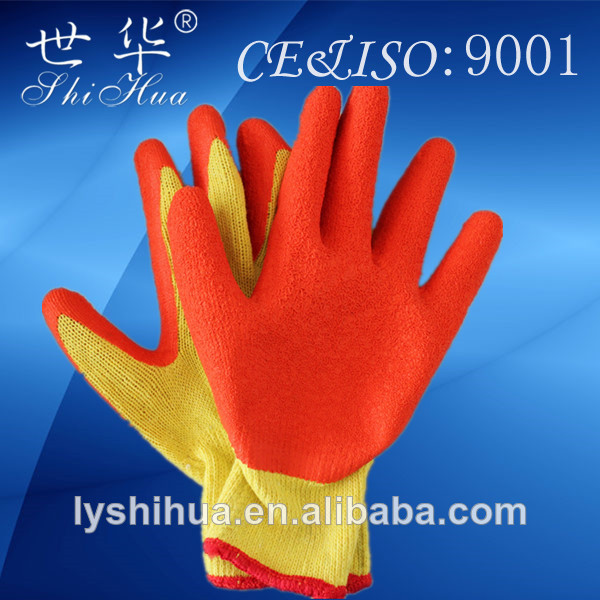 yellow latex coated cotton gloves