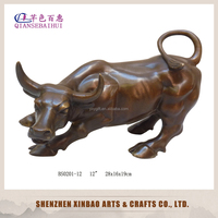 wholesale copper wall street bull statue /brass ox/ business gift