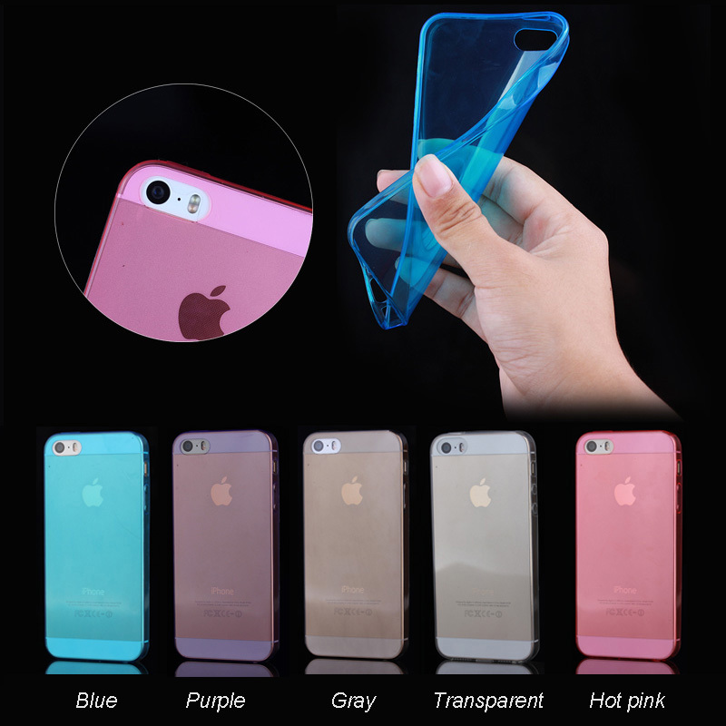 colorful soft TPU transparent mobile phone case for iphone5 5s