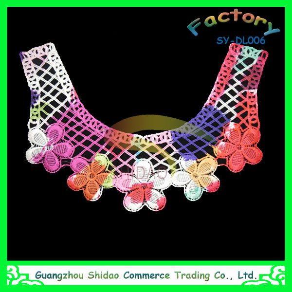 custom guangzhou discount 100% polyester material neck patch embroidery designs lace collar