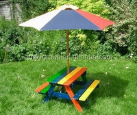 colorful outdoor garden pine wood folding camping children kids picnic table with parasol umbrella
