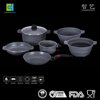Multi function non-sitck aluminum cookware set with marble coating