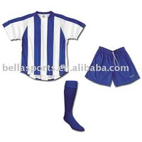 2012 Best selling Royal blue stripes transfer printed soccer uniforms soocer Kits Football Kits Football Set