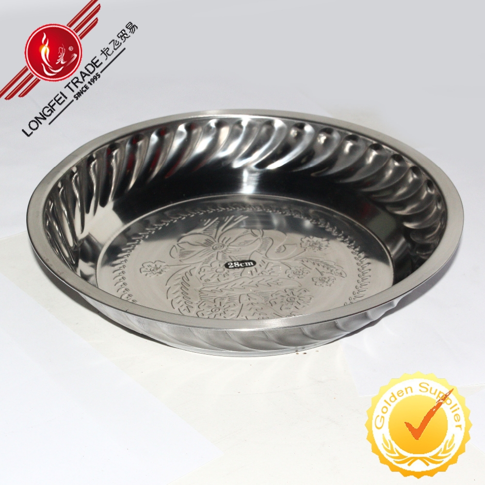 Big 28CM Kichenware Stainless Steel Soup Tray Plate Dinner Dishes