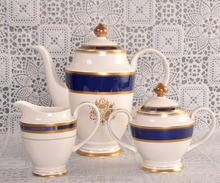 blue and white porcelain coffee and tea set
