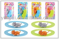 wind up mouse and cat with railway/wind up toys/promotion toys