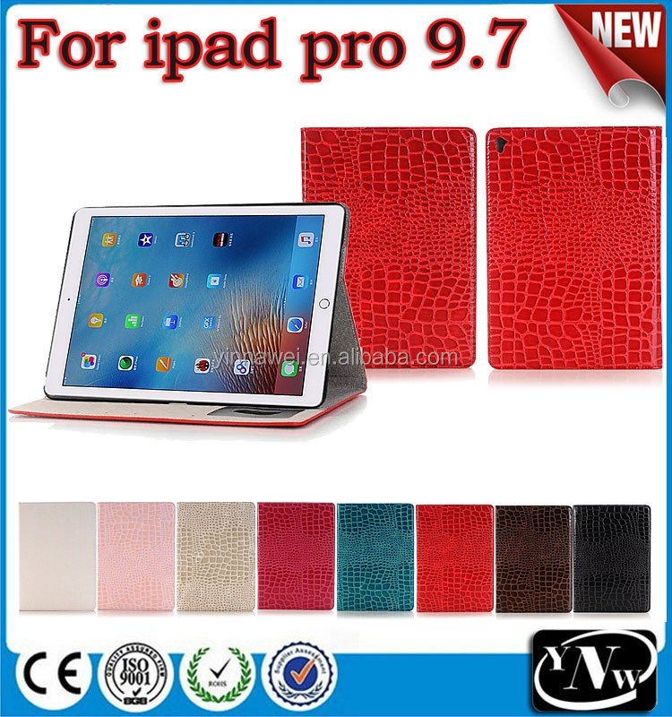 Crocodile skin PU flip leather case for iPad Pro, for IPad Pro Stand flip leather case
