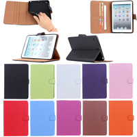 Plain Genuine leather flip wallet cover case for iPad Mini 1 2 3 with stand