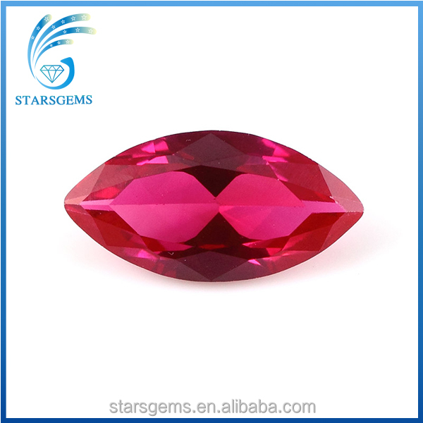 Fine Quality Synthetic Corundum Ruby Rough,Marquise Shape Synthetic Red Corundum