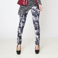 Printed Stretch Cotton Flax Slim hip fashion tie-dyed cotton stretch jeans feet pencil pants