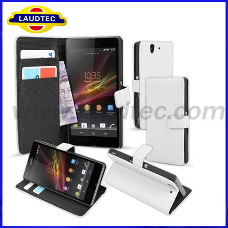 Stand Cover Leather Purse Wallet Case for Sony Xperia Z L36H