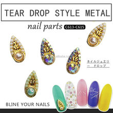 tear drop style metal Nail Art Parts accessories