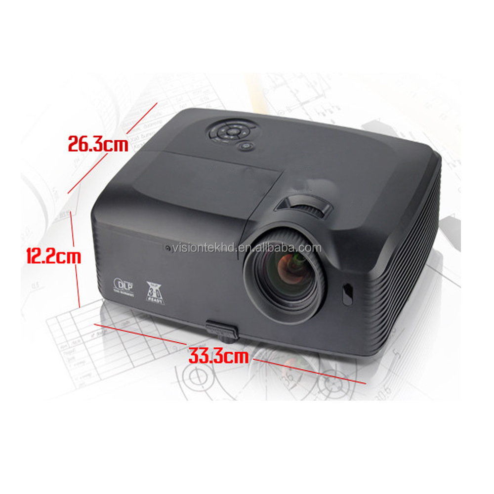 "Best sale IR Contr max 300""large view 1080p 6000ansi lumens dlp 3D long throw home projector"