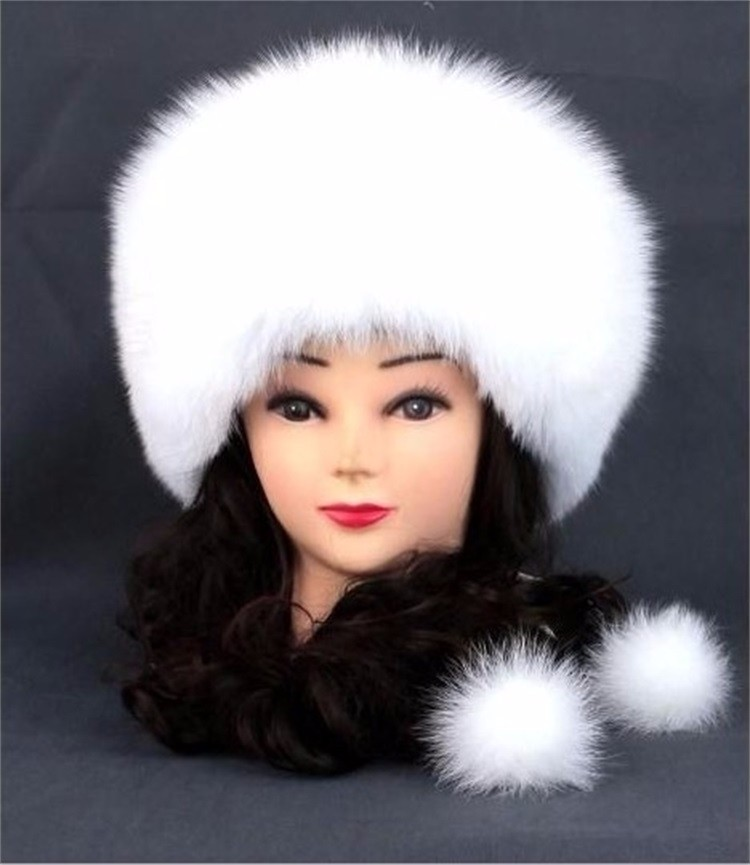 The new 2016 Wholesale Unisex White Winter Fox Fur Cap / Women Winter Fox Fur Hat from China
