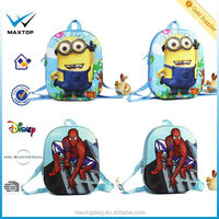 3d design kids school bag EVA dora/ spider man/Minions/hello Kitty backpack