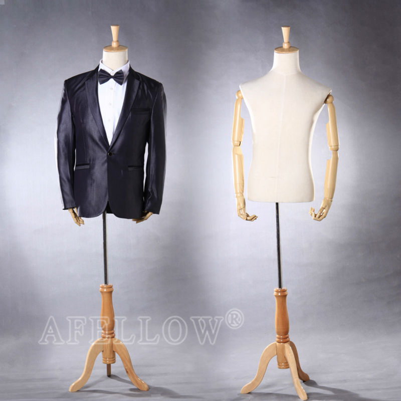 M005-102W Mannequin hands plastic Wooden hands with half body male mannequin Cheap display model half body male mannequin