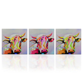 Hd Wall Decor 3 Panels Oil Painting Colorful Milk Cow Printed Wall Poster for Living Room Bedroom Decoration