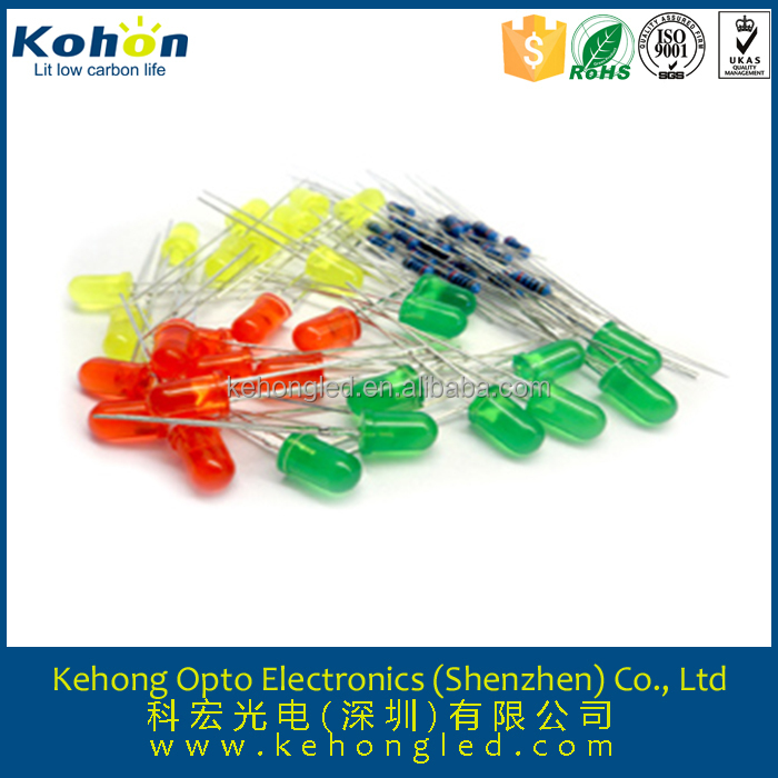 3mm Round Red LED Diode with 30 Green LED with 120 degree Viewing Angle, Measures 5mm and Available in Straw Hat Shape