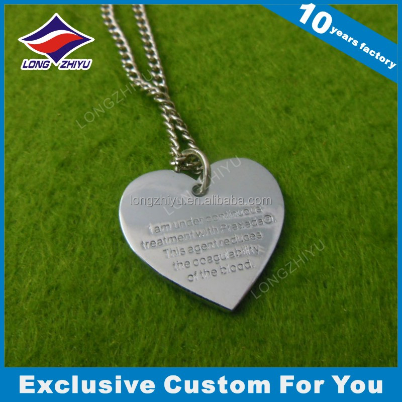 Custom engraved heart shaped dog tags printing tag with epoxy