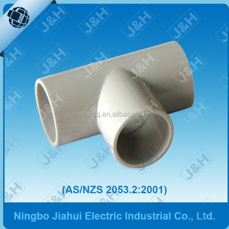 china supplier AS/NZS 2053 electrical PVC pipe straight tee, australian electrical wiring accessories made in china