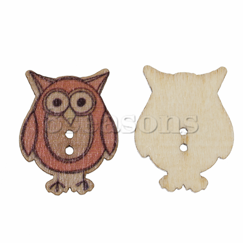 Custom Fashion Owl 2 Holes Wood Sewing Buttons Bulk