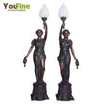 Antique French Style Bronze Lady Sculpture Lamps
