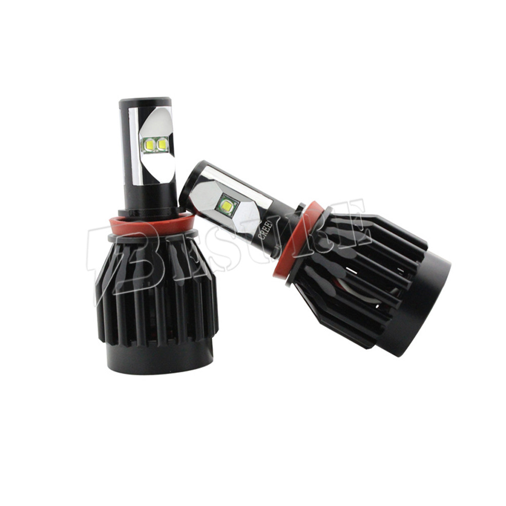 H8/H11/H16 Auto LED Headlight Kit Replace Halogen Bulbs 2pcs All-in-one Design 30W Car Headlight LED