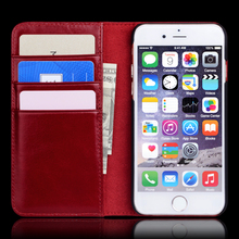 For iphone 7 Case, Genuine Leather Folio Flip Case Cover Magnetic Stand Function with Card Slots/Cash