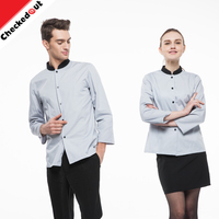 Wholesale OEM unisex contrast long sleeves restaurant waiter shirt hotel receptionist uniform