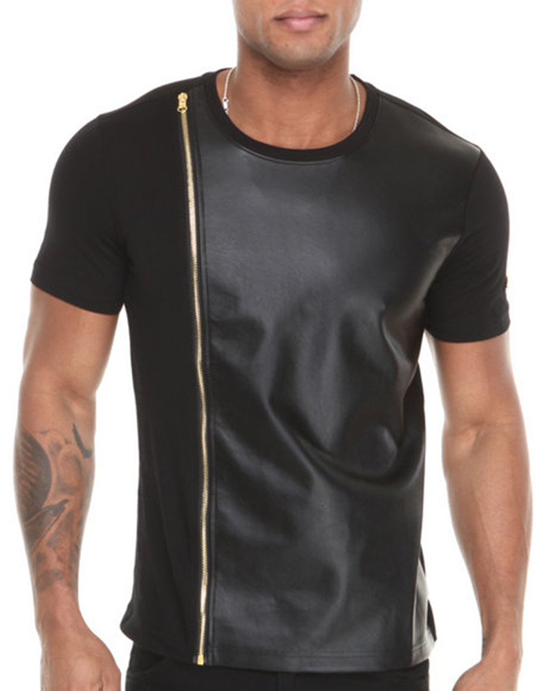 Men 2014 tshirt with zipper down closure and leather front for Men s down shirt