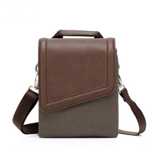 China wholesale vintage messenger shoulder bag men small waterproof nylon handbag with leather cover
