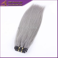 Wholesale no tangle no shed 10 inch - 32 inch straight cheap brazilian grey human hair weaving