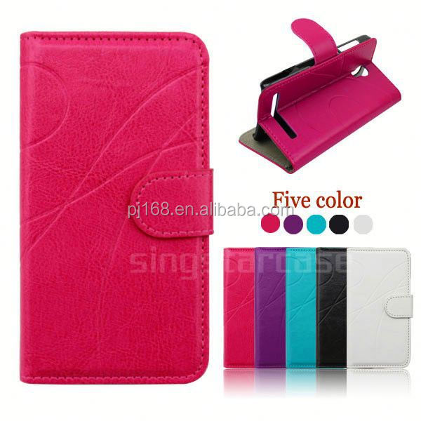 Hot selling mobile phone case design flip leather cover for Huawei Ascend P6 Mini G6