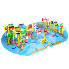 Classic Puzzle World Map Toy Children awareness national flags three-dimensional puzzle educational toys