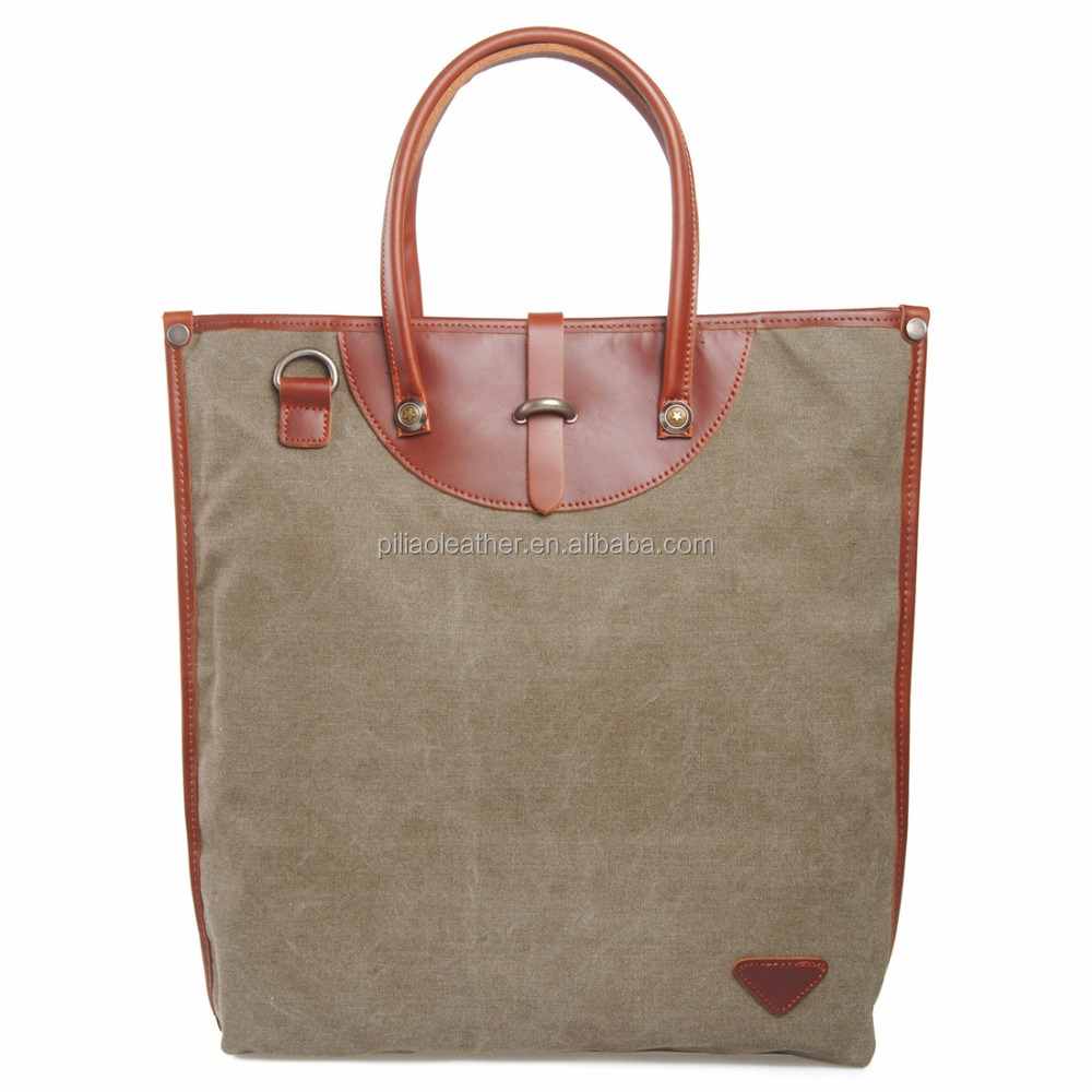 Fashion Canvas Tote leather Handbag from China factory