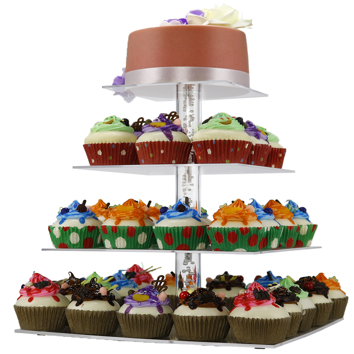 Custom Acrylic Cakecup Stand  Clear Square Round Cupcake Stand Wedding Birthday 7 Tier