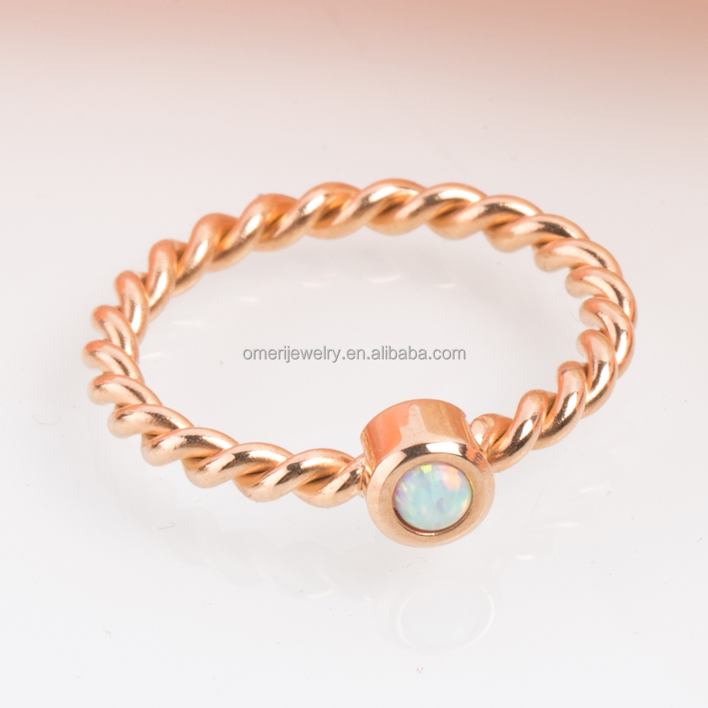 oval Set Braided cheap opal Rose Gold stainless steel single stone ring designs