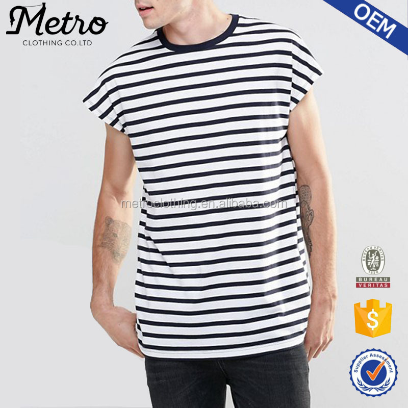 Custom Design Men's White And Black Stripe T-shirt