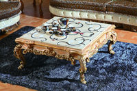 Luxury Victorian Living Room Wooden Coffee Table/Antique Marquetry Art Coffee Table With Marble Top, End Table, MOQ 1 PC
