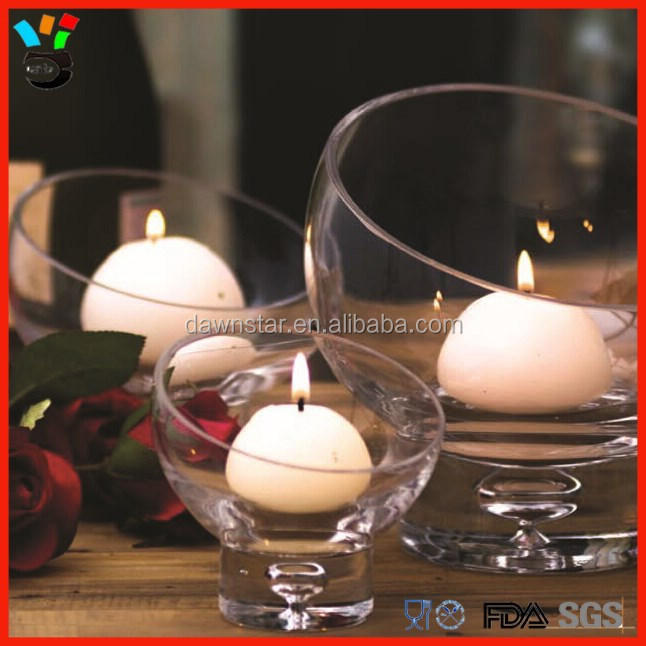 Cute Tableware Centerpieces Bubble Stem 3 Size Available Bowl Shaped Glass Dessert / Candle Holder