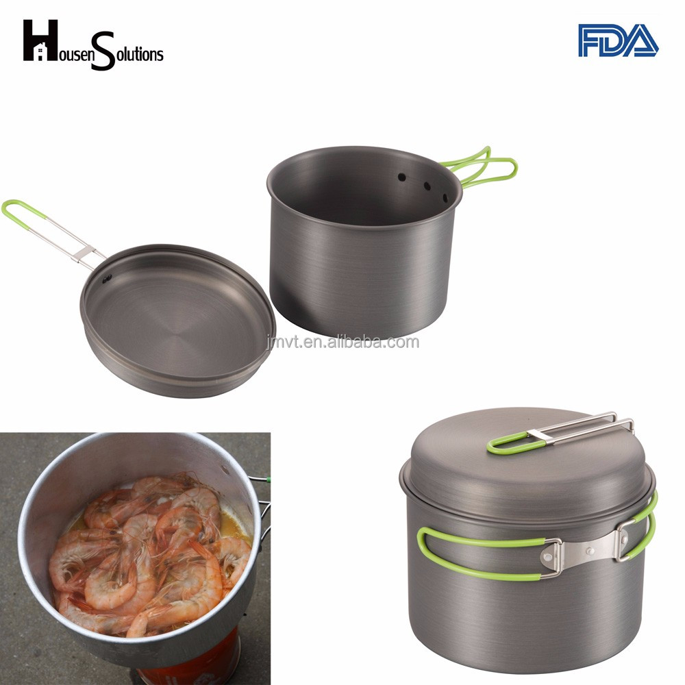Camping Equipment, Housen Solutions Outdoor Camping Pots And Pans Set 2PCS Aluminum Military Cookware