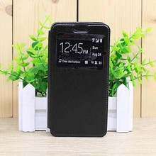 2016 New black window view filp PU leather stand case for OPPO R9