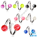 Fashion Twister Piercing Jewelry With Marble Pattern Acrylic Ball