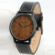 Factory Wholesale steel wrist watches for men women Wood Watch Custom Logo leather Strap wood watch men