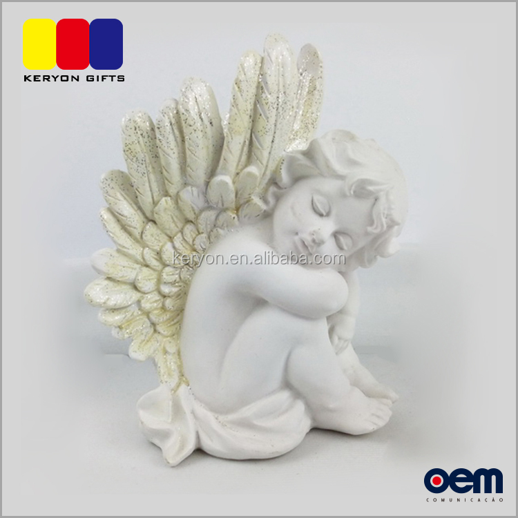 Small Western Resin Sitting Baby Syatue Wing Angel Figurines