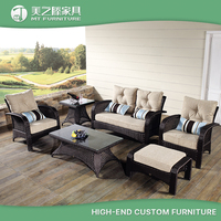 China cheap comfortable PE rattan wicker sunroom outdoor furniture sofa set