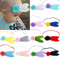 New arrival girls felt flower elastic headband lovely feather shape headbands for babies